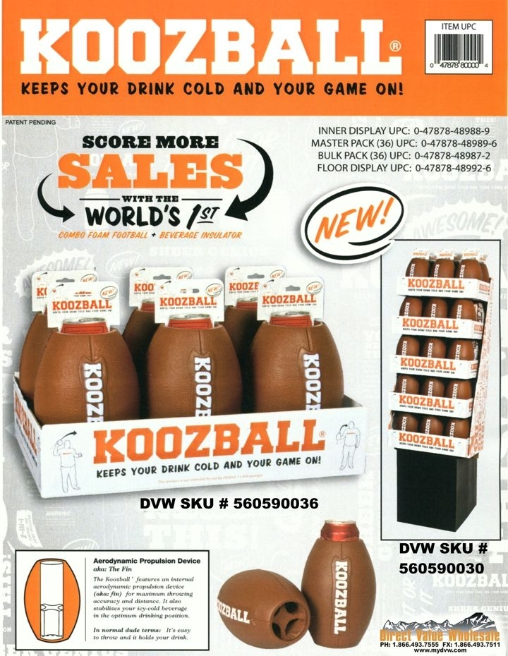 KOOZBALL CAN COOLER / FOOTBALL FLOOR DISPLAY